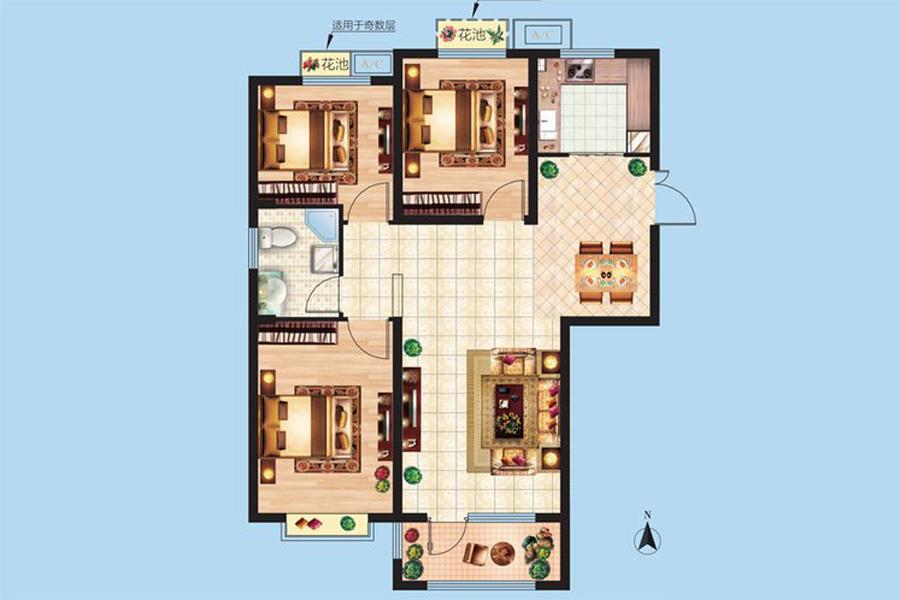 3#楼C5户型109平米3室2厅1卫1厨