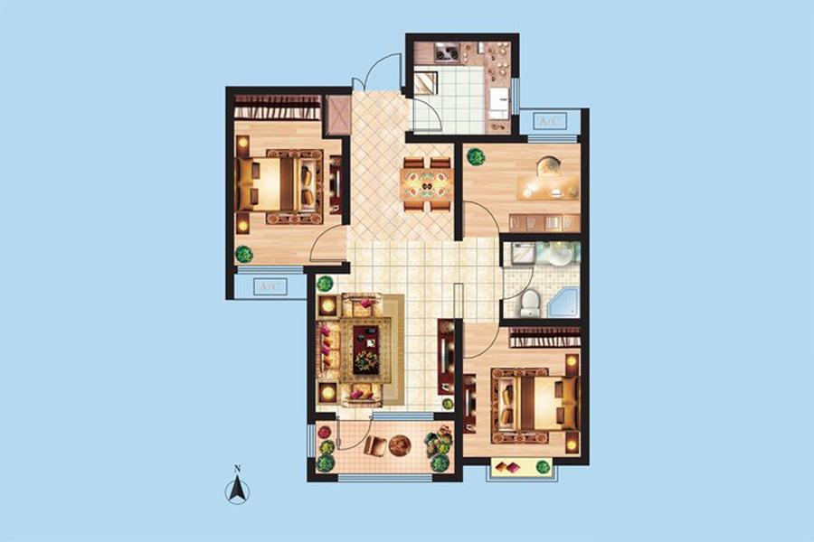 3#楼C6户型94平米3室2厅1卫1厨