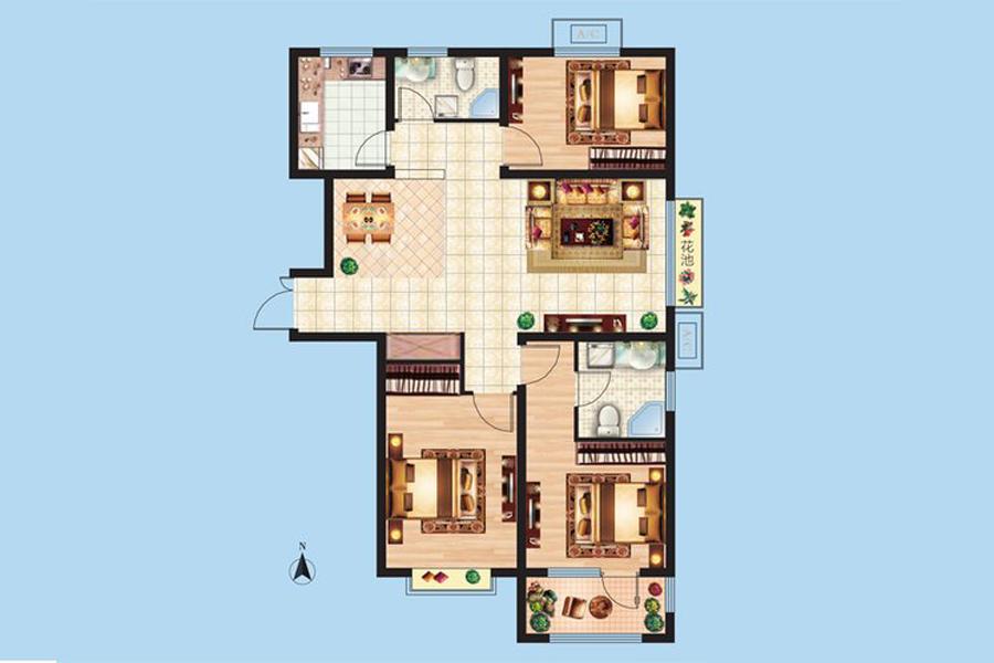 3#楼C7户型120平米3室2厅2卫1厨