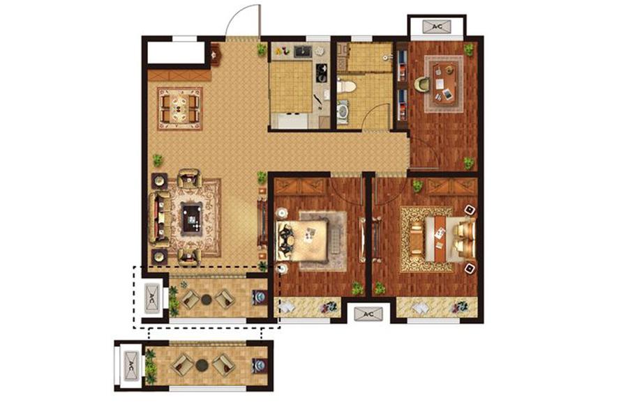 A2户型3室2厅1卫1厨95平米