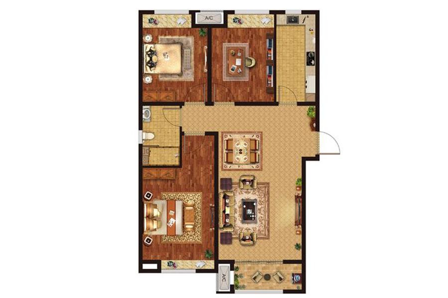 B1'户型107平米3室2厅1卫1厨