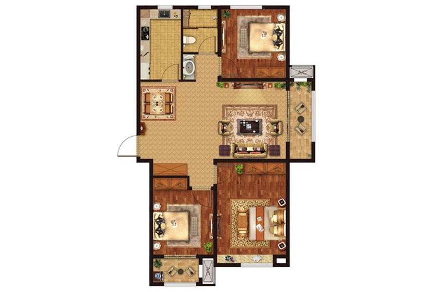 B1户型113平米3室2厅1卫1厨