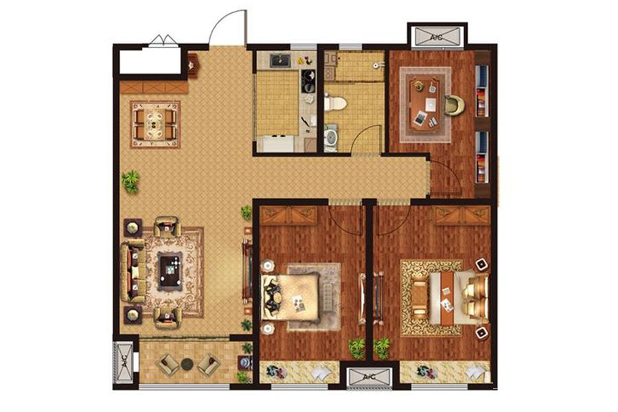 B2户型108平米3室2厅1卫1厨