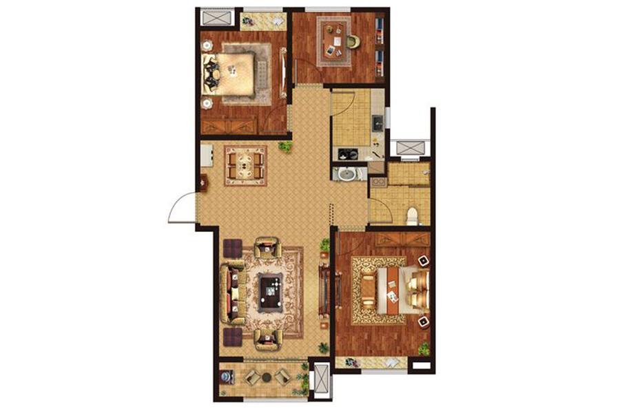 B3户型105平米3室2厅1卫1厨