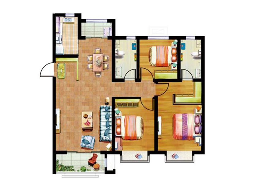 C户型125平米3室2厅2卫1厨