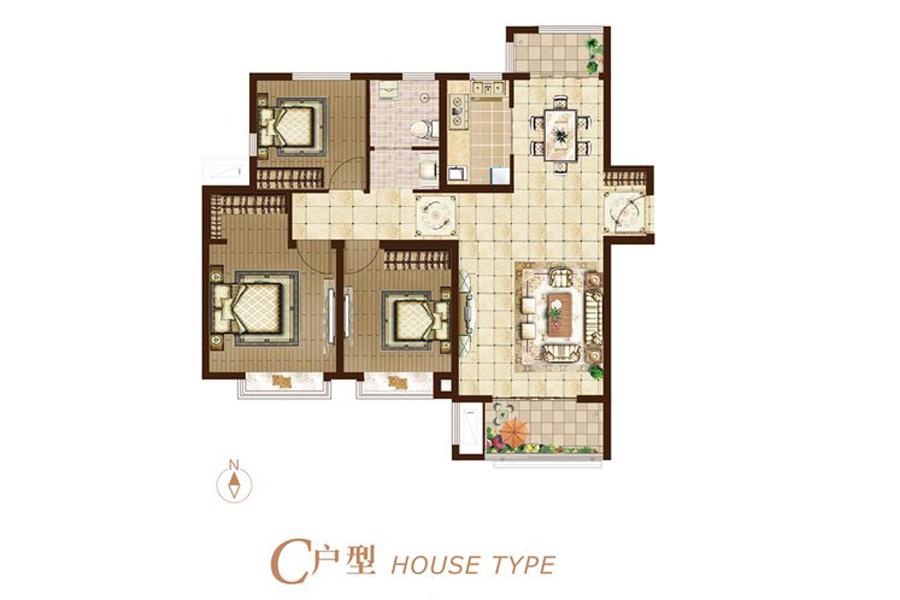 二期C户型115平米3室2厅1卫1厨