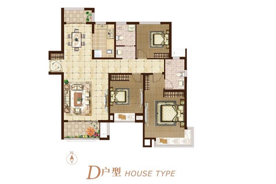 二期D户型125平米3室2厅2卫1厨