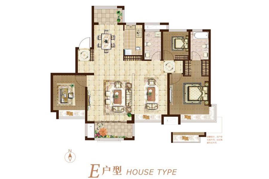 二期E户型140平米4室2厅2卫1厨