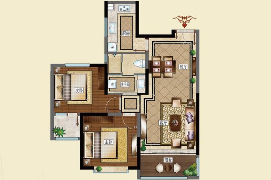 A户型92平米2室2厅1卫1厨