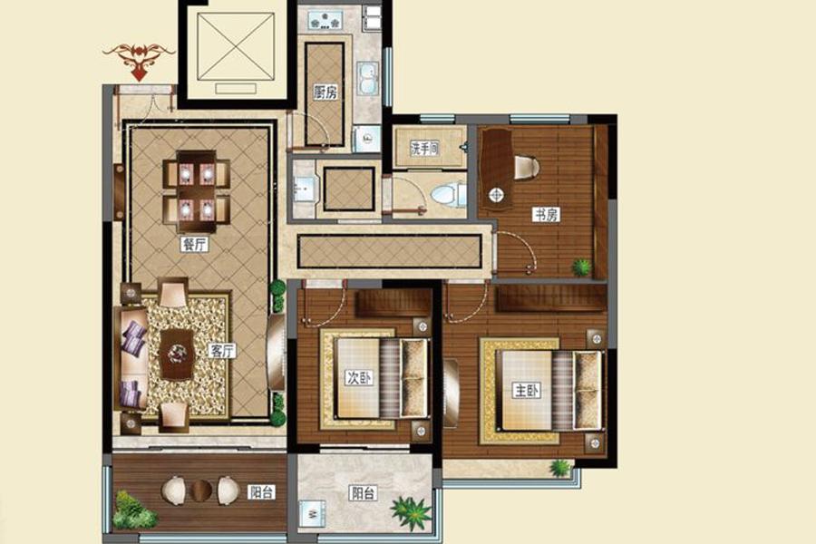 B户型112平米3室2厅1卫1厨
