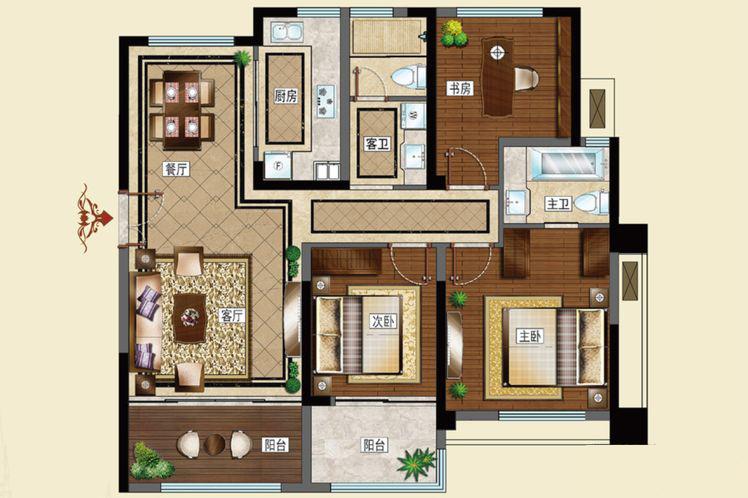 C户型120平米3室2厅2卫1厨