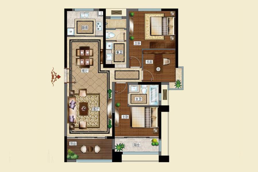 D户型118平米3室2厅2卫1厨