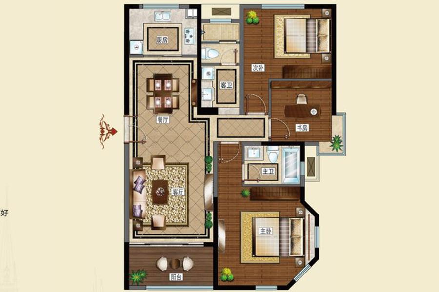 D次户型121平米3室2厅2卫1厨