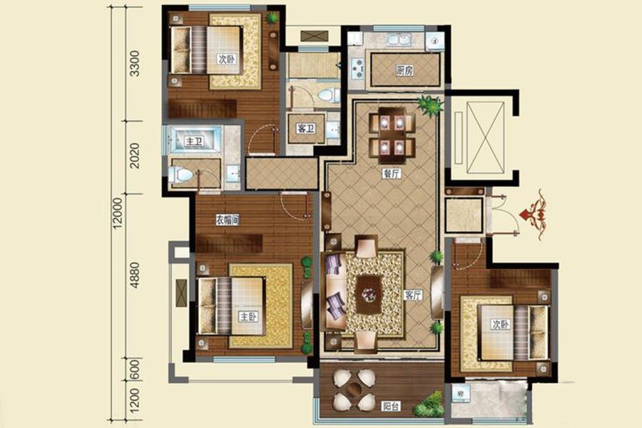 E次户型133平米3室2厅2卫1厨