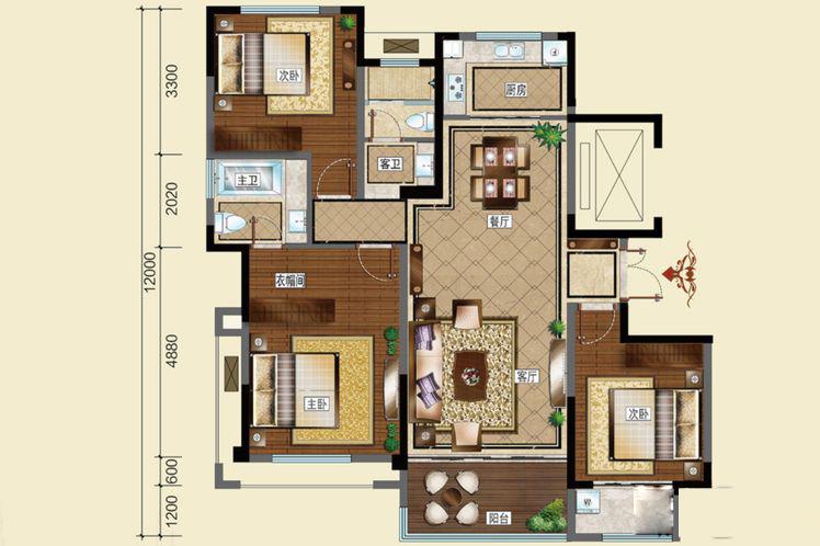 E户型3室2厅2卫1厨126平米