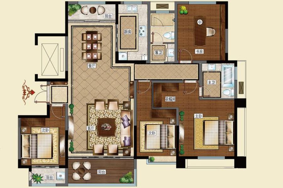 I户型169平米4室2厅2卫1厨