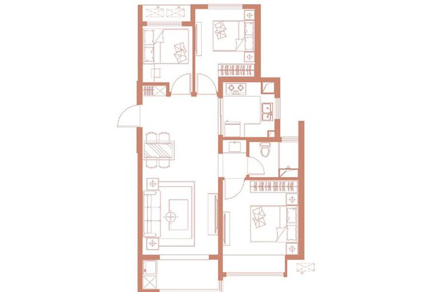 95平米3室2厅1卫1厨