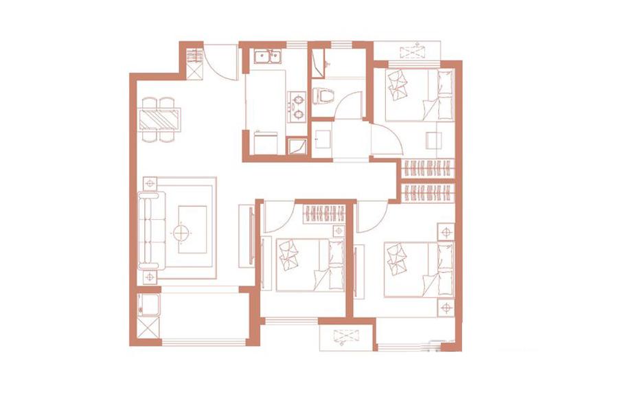 95平米中户3室2厅1卫1厨