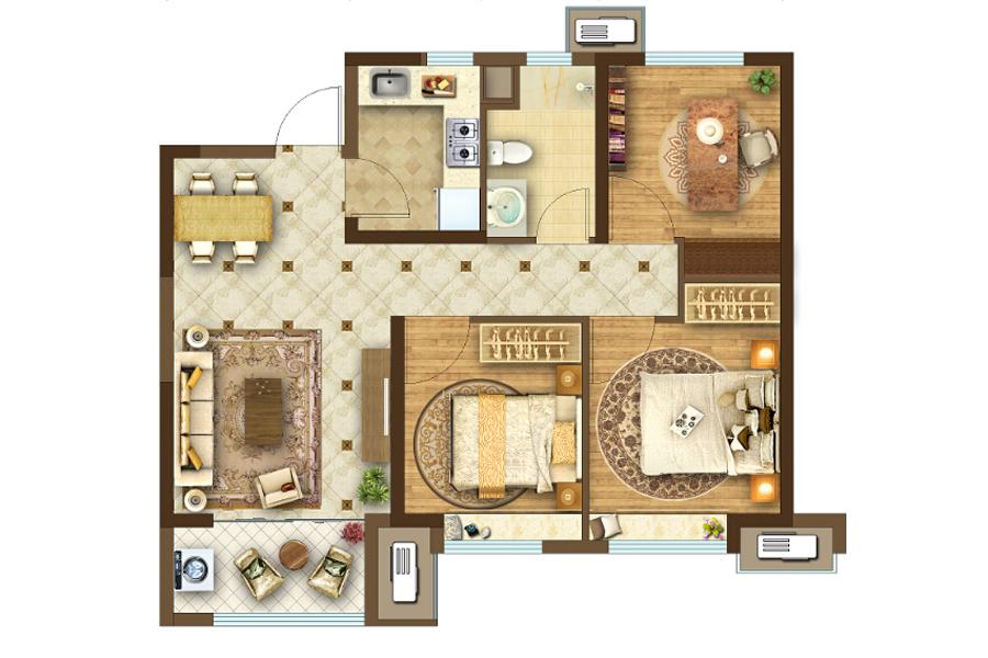 高层95㎡3室2厅1厨2卫
