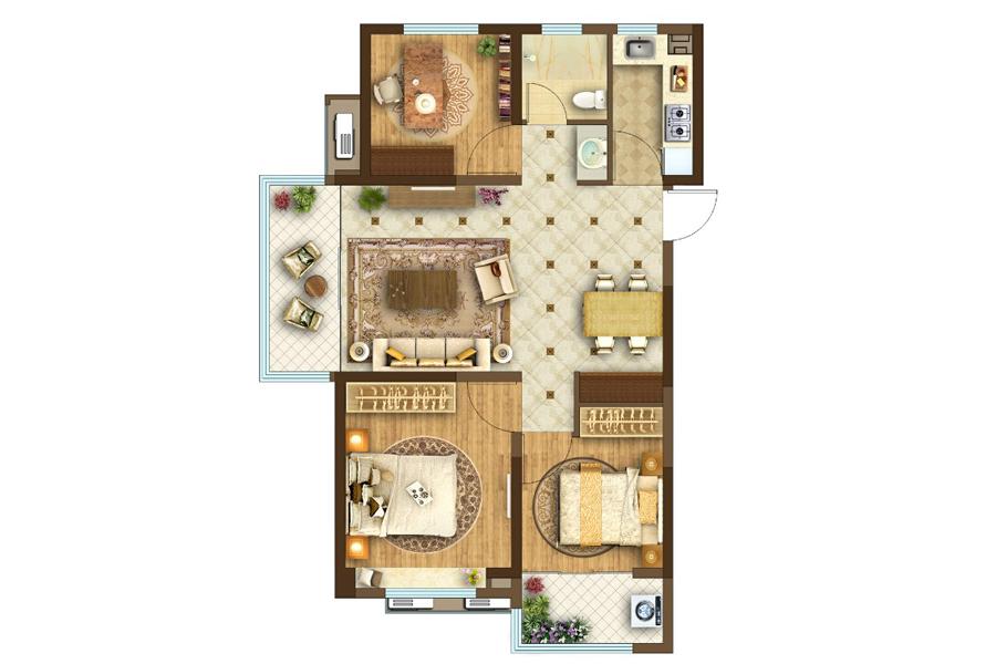 高层110㎡3室2厅1厨1卫