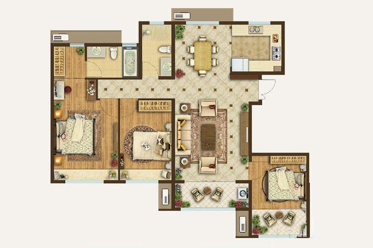 洋房140㎡户型3室2厅2卫1厨