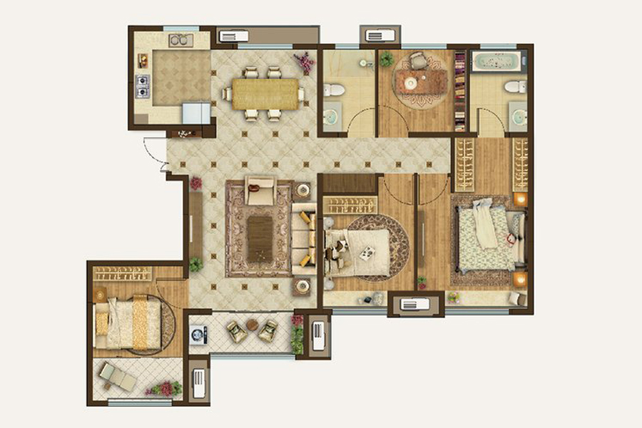 洋房150㎡户型4室2厅2卫1厨