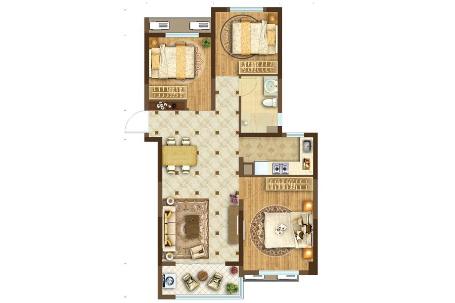 约107㎡高层3室2厅1厨1卫